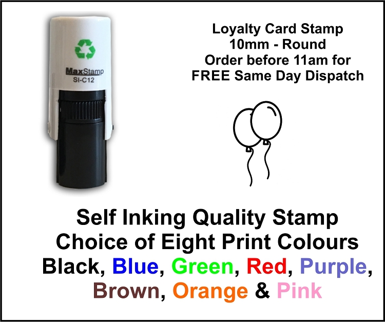 Balloons Loyalty Card Stamp 10mm Round C12 Self Inking ...