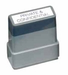 PRIVATE & CONFIDENTIAL - Blue/Red - Ready Made Rubber Stamp MaxStamp MS24