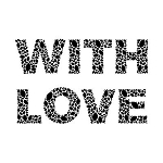 WITH LOVE Rubber Stamp 50x38mm RS13 Traditional Style