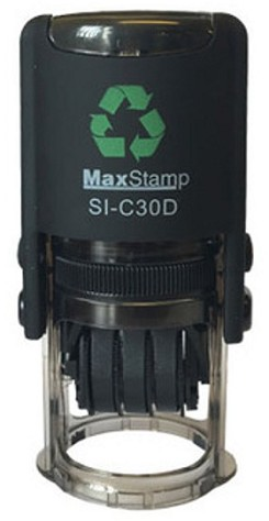 MaxStamp C30/D/2 28mm Round Two Colour Custom Date Stamp Self Inking Maxum SI-C30D/2