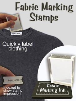 clothing marking stamp and ink pad school uniform fabric linen