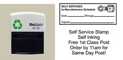 Service History Stamp for DIY Mechanics - SELF SERVICED etc 57x21mm  PISTON Image