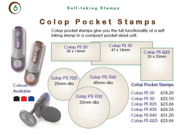 Colop Pocket Stamps Custom Made