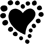 HEART Rubber Stamp 25X25mm RS7 Traditional Style