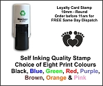 Baby Feet Loyalty Card Stamp 10mm Round C12 Self Inking Maxum SI-C12