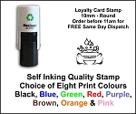 CAR WASH Loyalty Card Stamp 10mm Round C12 Self Inking Maxum SI-C12