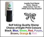 Dragonfly Smiley Loyalty Card Stamp 10mm Round C12 Self Inking Maxum SI-C12