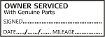 OWNER SERVICED WITH GENUINE PARTS - Garage / Mechanic Service Book Stamp