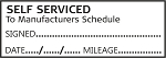 SELF SERVICED TO MANUFACTURERS SCHEDULE - Garage / Mechanic Service Book Stamp