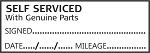 SELF SERVICED WITH GENUINE PARTS - Garage / Mechanic Service Book Stamp