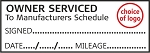 OWNER SERVICED TO MANUFACTURERS SCHEDULE - Garage / Mechanic Service Book Stamp