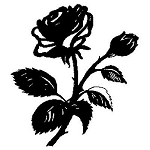ROSE Rubber Stamp 25X25mm RS7 Traditional Style