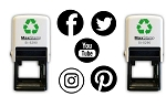 Social Media Rubber Stamp Self Inking 34mm Facebook, Twitter, YouTube, Instagram or Pinterest
