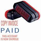 Trodat 3 in 1 Pre-Inked Stamp - Copy Invoice / Paid / This Account Is Now Overdue