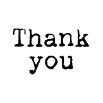 THANK YOU Rubber Stamp 50x25mm RS8 Traditional Style