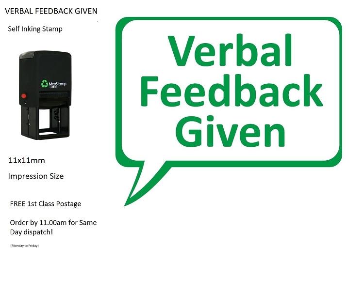 Teacher Stamp VERBAL FEEDBACK GIVEN Self Inking