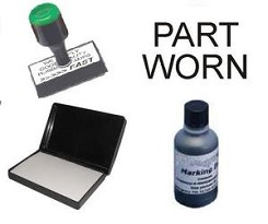 Tyre Marking Rubber Stamp Kit consists of a Traditional Rubber Stamp  with PART WORN on and a Dry Ink Pad and a 2oz bottle of MTYPE Tyre / Rubber Marking Ink in White, Red or Black
