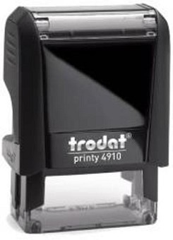 Custom Made Stamp - Trodat Printy 4910 24X7mm Self Inking Rubber Stamp - You can add text up to 3 lines with 15 characters on each line. Simply type in the text you need and we will create the artwork and email you a PDF preview to check and approve. Once you approve the artwork your stamp will be made and posted the same day if approved before 11am or the next working day (M-F)