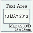SQUARE DATE STAMP 28X28MM SI-5280/D SIZE GUIDE