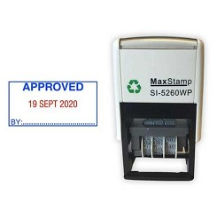 APPROVED Date Stamp - Self Inking 41X21mm MaxStamp SI-5260/D Dater. Ten Year date band available ink Black, Blue, Red, Green or Purple Ink Colours - Order today for same day dispatch by 1st Class Royal Mail if ordered before 11am Monday to Friday.