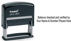 Balance checked and verified self inking rubber stamp personalised with your Name and GPhC number. Custom made and posted out by 1st Class Royal Mail. Order yours today at www.rubberstampking.co.uk, the home of 60% off the manufacturers list price.