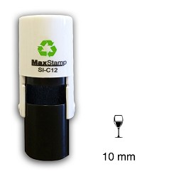 WINE GLASS Loyalty Card Stamp 10mm Round Self Inking Maxum SI-5205