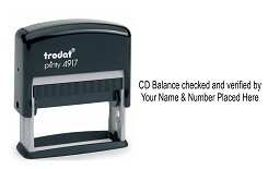 CD Balance checked and verified self inking rubber stamp personalised with your Name and GPhC number. Custom made and posted out by 1st Class Royal Mail. Order yours today at www.rubberstampking.co.uk, the home of 60% off the manufacturers list price.