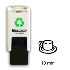 COFFEE AND TEA CUP AND SAUCER  Loyalty Card Stamp 10mm Square Self Inking Maxum SI-5205