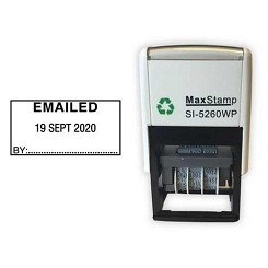 EMAILED Date Stamp - Self Inking 41X21mm MaxStamp SI-5260/D Dater. Ten Year date band available ink Black, Blue, Red, Green or Purple Ink Colours - Order today for same day dispatch by 1st Class Royal Mail if ordered before 11am Monday to Friday.