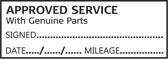 APPROVED SERVICE WITH GENUINE PARTS - Garage / Mechanic Service Book Stamp