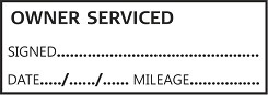 OWNER SERVICED Garage Mechanics Rubber Stamp Self Inking. 46X16mm impression size is ideal for service books. This stamp is aimed for use by Garages and DIY /Home Mechanics to add a professional look to your / customers service history book. Always back up your service stamp with parts receipts.