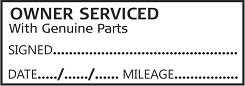 OWNER SERVICED WITH GENUINE PARTS Garage Mechanics Rubber Stamp Self Inking. 46X16mm impression size is ideal for service books. This stamp is aimed for use by Garages and DIY /Home Mechanics to add a professional look to your / customers service history book. Always back up your service stamp with parts receipts.