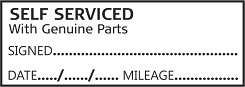 SELF SERVICED WITH GENUINE PARTS Garage Mechanics Rubber Stamp Self Inking. 46X16mm impression size is ideal for service books. This stamp is aimed for use by Garages and DIY /Home Mechanics to add a professional look to your / customers service history book. Always back up your service stamp with parts receipts.