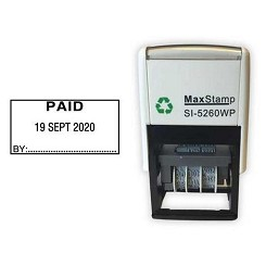PAID Date Stamp - Self Inking 41X21mm MaxStamp SI-5260/D Dater. Ten Year date band available ink Black, Blue, Red, Green or Purple Ink Colours - Order today for same day dispatch by 1st Class Royal Mail if ordered before 11am Monday to Friday.
