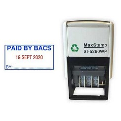 PAID BY BACS Date Stamp - Self Inking 41X21mm MaxStamp SI-5260/D Dater. Ten Year date band available ink Black, Blue, Red, Green or Purple Ink Colours - Order today for same day dispatch by 1st Class Royal Mail if ordered before 11am Monday to Friday.