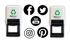 38mm Social Media Self Inking Rubber Stamps - Facebook, Twitter, YouTube, Instagram and Pinterest