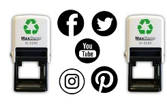 34mm Social Media Self Inking Rubber Stamps - Facebook, Twitter, YouTube, Instagram and Pinterest